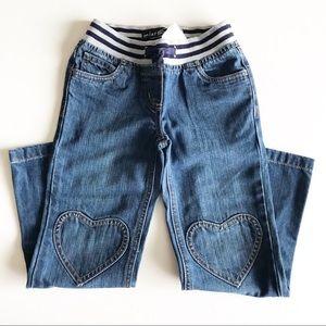 NWT Mini Boden Heart Patch Wide Leg Jeans Size 6